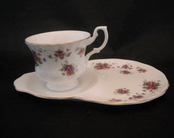 Tea Cup and Saucer, Luncheon Plate Royal Osborne Fine Bone China, With Pink And Purple Flowers,  Wedding