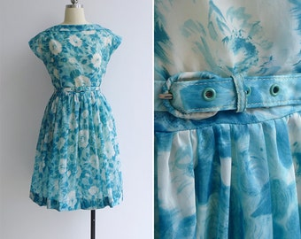Vintage 50's Watercolor Florals Teal Blue Boat Neck Dress with Belt XS or S