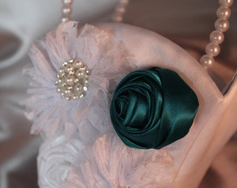 WHITE or IVORY Satin Flower Girl Basket with Lace Flowers-Teal Satin Flower- Rhinestones- Pearls-Custom Accent Colors Available