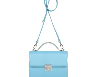 Leather Cross body Bag, Blue Leather Shoulder Bag, Women's Leather Crossbody Bag, Leather bag KF-1176