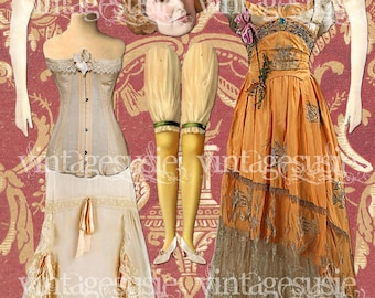 EDITH Digital Paper Doll from DOWNTON ABBEY Vintage Edwardian Collage Sheet Digital Download