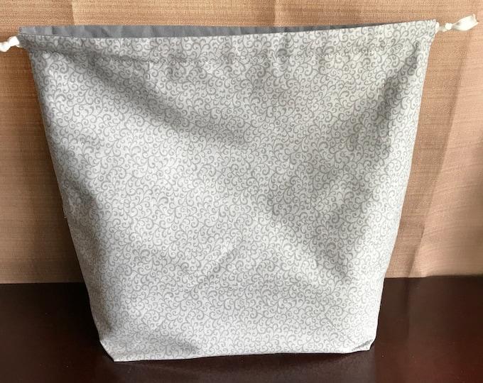 Large, Grey, Reversible Drawstring Project bag