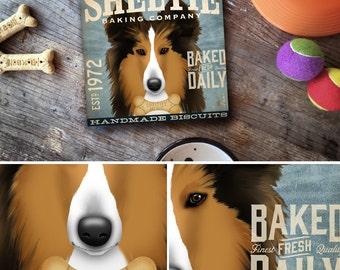 Sheltie shetland sheepdog Dog Baking Company illustration on gallery wrapped canvas Stephen Fowler