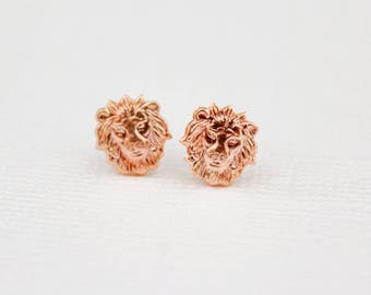 Lion Head Earring Studs in Raw Brass, Raw Copper, and Matte Silver, and Rose Gold, Stainless Steel Posts, African Animal Face Jewelry