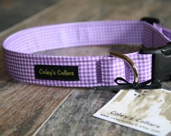 "Gingham Dog Collar, Dog Collar, Dog Collars, Girl Dog Collar, Boy Dog Collar, Female Dog Collar, Purple Dog Collar,  ""The Gingham in Purple"""