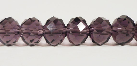 """Rondelle Crystal Beads 10x8mm (8x10mm) Plum Purple Faceted Chinese Crystal Glass Beads for Jewelry Making on a 7 1/2"""" Strand with 24 Beads"""