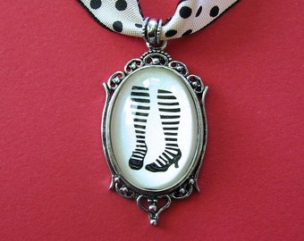 WAITING for the PHONE to RING Choker Necklace, pendant on ribbon - Silhouette Jewelry