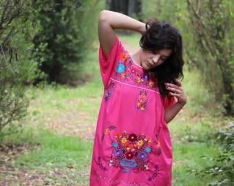 Pink and multi  colored embroidery Puebla Dress