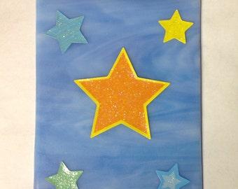 FIVE STARS NIGHTLIGHT - Decoupage Sky Blue Stained Glass ST3