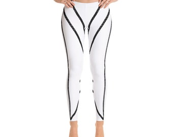 Black and White Double Stripe Leggings