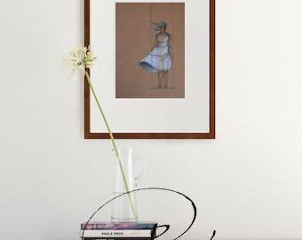 Female drawing, original drawing, paper craft art, drawing on paper craft, art, original art, modern female art, spirituality, movement