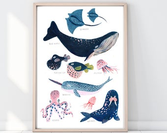 Whale Print, Whale Illustration, Narwhal Print, Pufferfish Print, Reef Print, Childrens Print, Childrens decor, Nursery wall art