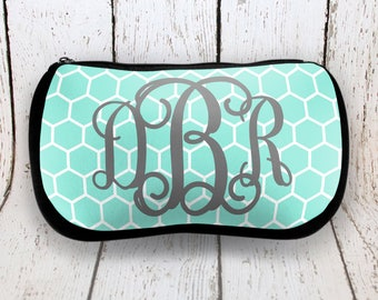 Mint Honeycomb Monogrammed Cosmetic Bag
