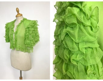 Vintage 1970s 1980s apple green sheer ruffle bolero - size S/M