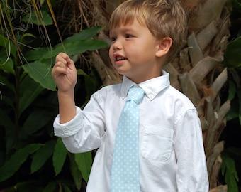 boys blue necktie, boy's blue white dot cotton tie, necktie of infant baby toddler child, boys ring bearer necktie, birthday tie, gift for