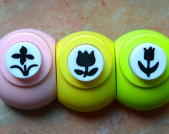 A Set of 3 Paper Punches-  Flower Garden