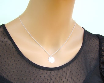 Sale Sterling Silver Charm Necklace - Round Pendant - Available in Gold