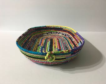 Oval Multi Colored Coiled rope Bowl, Fabric Bowl, Catchall Basket, Organizer Basket, Quiltsy Handmade