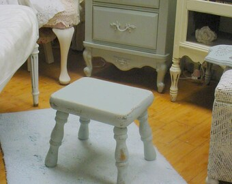 Rustic Stool Painted French Blue Primitive Vintage Shabby Chic French Country Prairie Cottage Chic