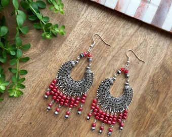 Boho Earrings Chandelier Earrings Statement Earrings Tribal Earrings Silver Gypsy Earrings Gypsy Jewellery  Gift for Her Gift for Girlfriend