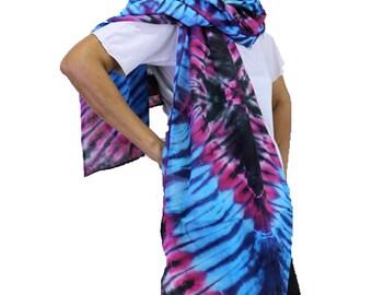 Blue Red Tie dye Cotton Scarf, Women Wrap Shawl , Circle Scarf , accessories (1)