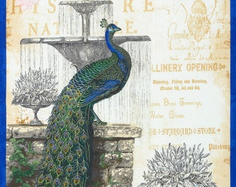 Peacock Fabric, Garden Peacock, French Garden - Palais Jardin by Tre Sorelle Studios for R Kaufman 16940 78 Natural - Priced by the Panel