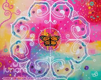 Butterfly medicine mandala PRINT