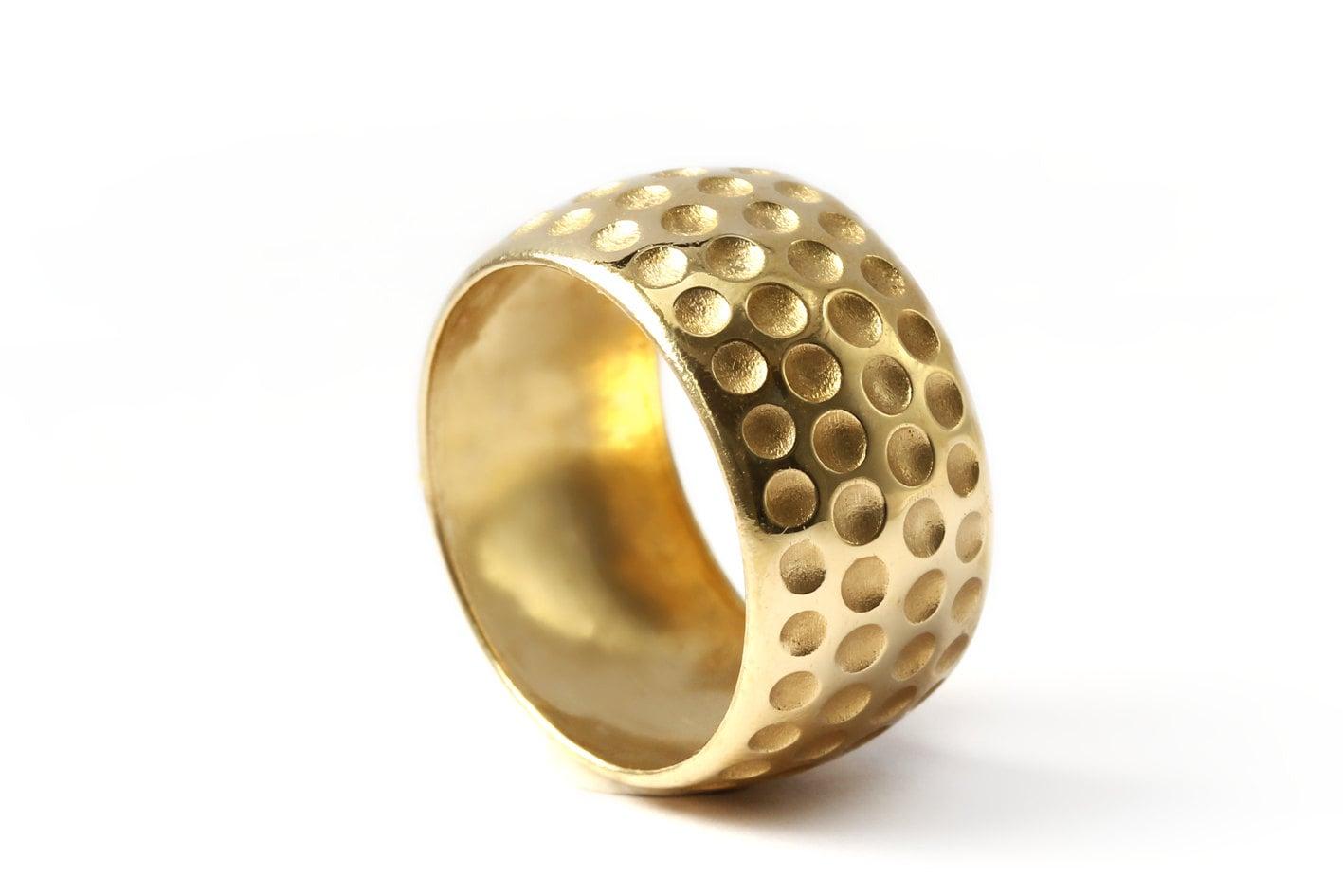 Mens Wedding Band 18k Gold Ring Forget Me Not Ringwedding
