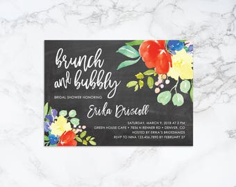 Printable Watercolor Floral and Chalkboard Theme, Brunch and Bubbly Bridal Shower Invitation
