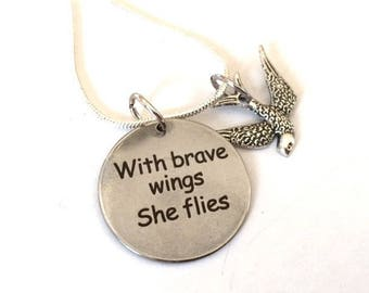With Brave Wings She Flies Necklace Bird Charm Silver Pendant Statement Inspirational Words Positive Message Jewelry Steampunk