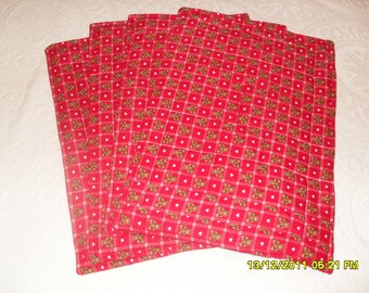 Set of Four Red Heart and Teddy Bear Placemats