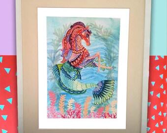Seahorse wall decor, Seahorse wall art, horse art