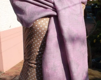 Pink women hand woven silk and wool scarf