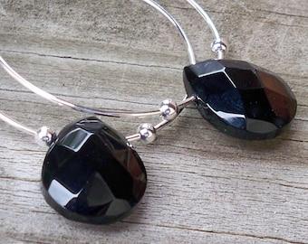 Black Onyx Earrings Black Onyx Hoop Earrings Black Beaded Hoop Faceted Black Onyx Gemstone Briolette Earrings 30mm Round Hoop Earring Black
