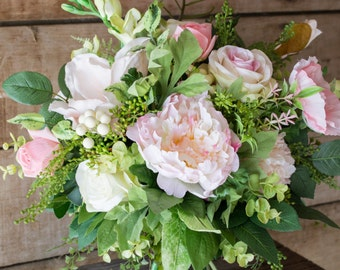 Bridal Bouquet, Pink Artificial Flower and Faux Greenery Wedding Bouquets