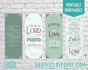 Printable Bible Scripture Bookmarks, Set of 4 | Christian Gift, Baptism Favor, VBS, Vacation Bible School | Digital JPG, Instant download