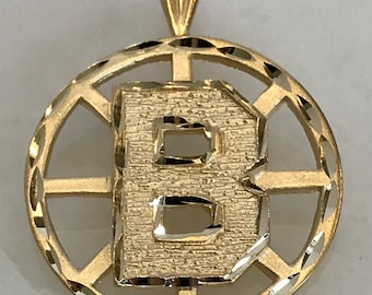14k Yellow Gold Boston Bruins Pendant