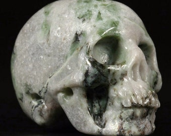 Realistic green jasper Carved Crystal Skull - HandMade by skullis Artist team