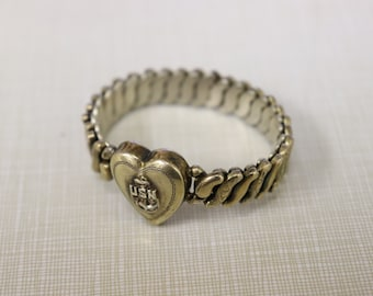 Vintage Metal USN Expansion Bracelet - Sweetheart Bracelet - United States Navy Girlfriend Wife