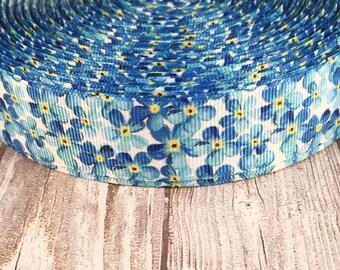 "1"" flower ribbon - Blue flower ribbon - Wedding flowers - Wedding ribbon - Baby shower ribbon - Floral ribbon - Crafting ribbon - DIY crafts"