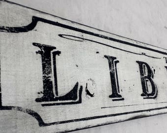 Antique Style The Library Wood Sign - Handmade Rustic Wooden Decor