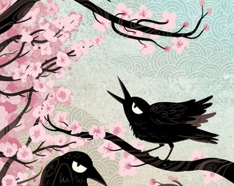 Spring Crows 8x12 mini art poster