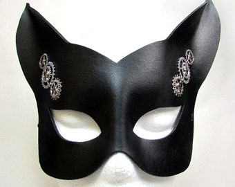 Steampunk Cat Mask / Cat Mask / Black Leather / Leather Mask / Steampunk Mask / Kitty Mask / Gothic / Fetish / Fox / Animal Mask/ Masquerade