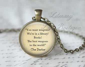 Doctor Who, 'Books!' Library Dr Who Quote, Time Lord, Gallifrey, Gallifreyan Necklace or Keyring, Keychain.