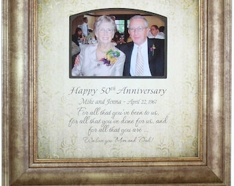50 year Anniversary Gift, 50th Anniversary Gift for Parents, 50th Anniversary Gift for Grandparents, 16x16