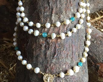 Triple Layered Rosary with river pearl stones and tourquose beads.