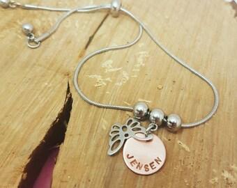 Name Bracelet Personalised Bracelet Hand Stamped Bracelet Custom Bracelet Adjustable Bracelet