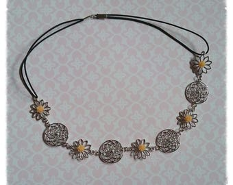 Metal headband with resin flowers and charms