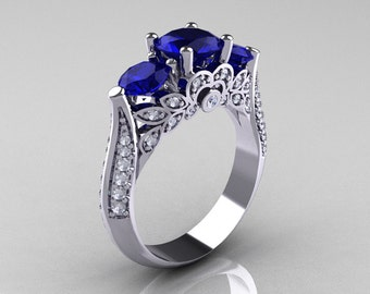 Classic 14K White Gold Three Stone Diamond Blue Sapphire Solitaire Ring R200-14KWGDBS