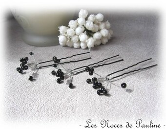 Black hair with pins set of 3 wedding 1